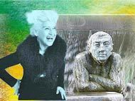 Grafik Kunst des Alterns: alte Dame und mittelalter Mann